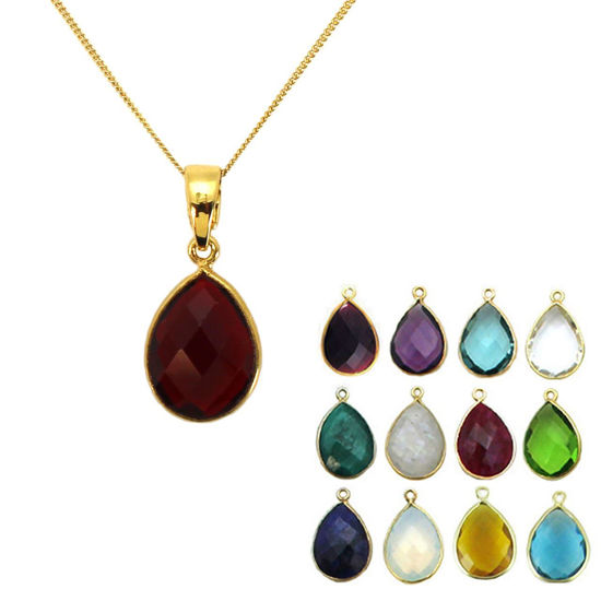 """Wholesale Gold Over Sterling Silver Teardrop Birthstone Pendant Necklace - 16"""""""