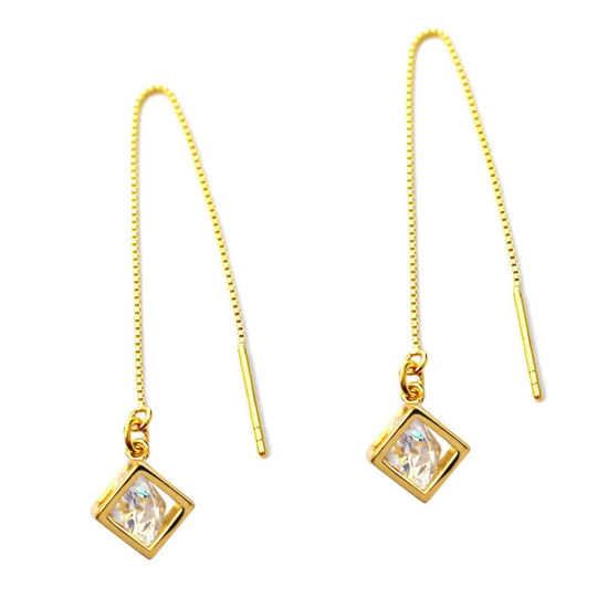 Wholesale Gold Over Sterling Silver CZ Stone Cube Charm Threader Earrings (Sold Per Pair)