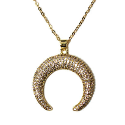 Wholesale Gold Over Sterling Silver Pave Double Horn Pendant Necklace