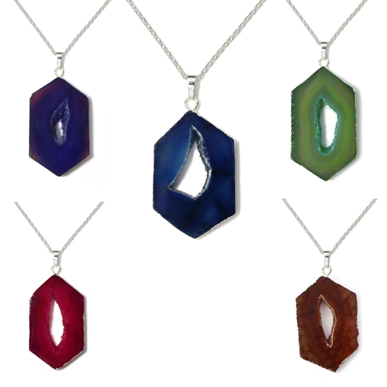 """Wholesale Sterling Silver Window Agate Geode Pendant Necklace - 16"""""""