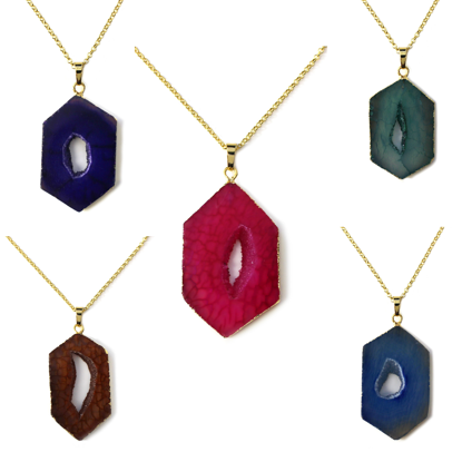 """Wholesale Gold Over Sterling Silver Window Agate Geode Pendant Necklace - 16"""""""