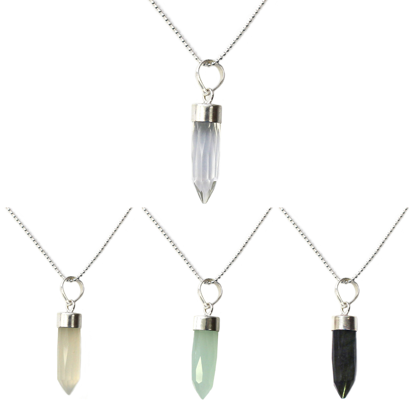 Wholesale Sterling Silver Gemstone Spike Pendant Necklace - 16""