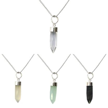 "Wholesale Sterling Silver Gemstone Spike Pendant Necklace - 16"""