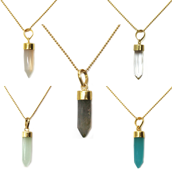 """Wholesale Gold Over Sterling Silver Gemstone Pendant Necklace - 16"""""""
