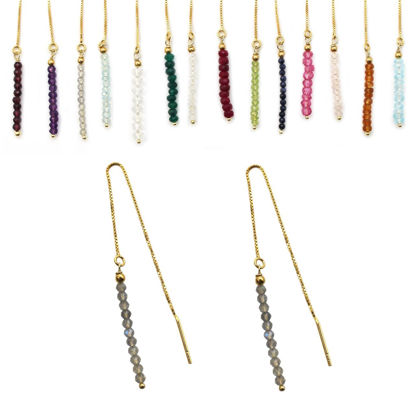 Wholesale Gold Over Sterling Silver Birthstone Row Ear Threads