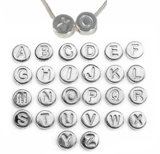 Wholesale Sterling Silver A-Z Initial Letter Round Tiny Charm - 6mm (1 piece)
