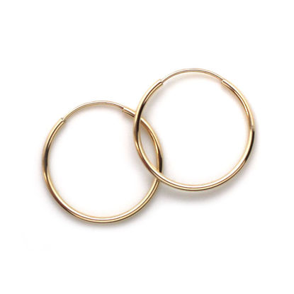 Wholesale 14K Yellow Gold Endless Hoop Earrings - 16mm (1 pair)