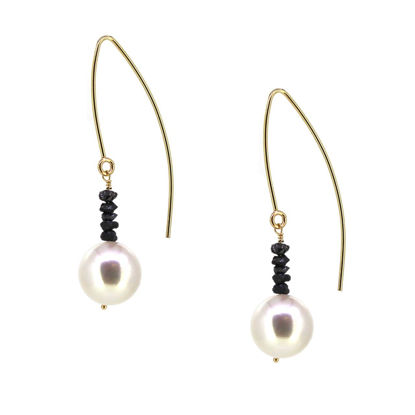 Wholesale 14K Yellow Gold White Freshwater Pearl and Raw Diamond Marquise Earrings