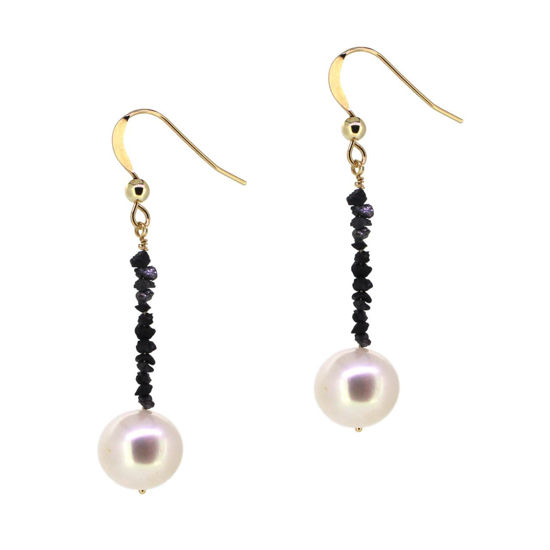 Wholesale 14K Yellow Gold White Freshwater Pearl and Raw Diamond Dangle Earrings