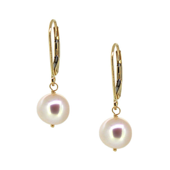 Wholesale 14K Yellow Gold White Freshwater Pearl Leverback Earrings