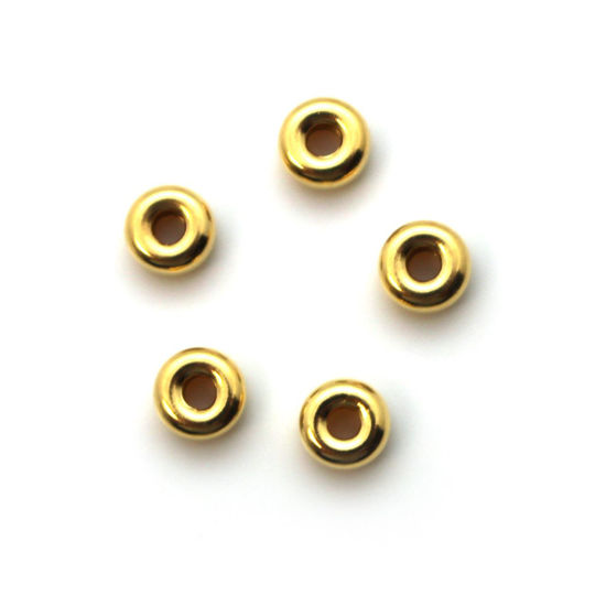 Wholesale Gold over  Sterling Silver Smooth Donut Shaped Beads - 4x2mm (15pcs)