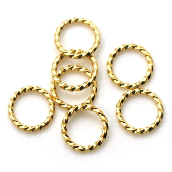 Wholesale Gold Over Sterling Silver Twisted Closed Jump Rings - 19ga, 8.5mm (10 pcs)