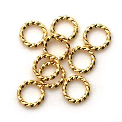Wholesale Gold Over Sterling Silver Twisted Closed Jump Rings - 18 ga, 6mm (20 pcs)