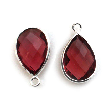 Wholesale Sterling Silver Bezel Gemstone Pendant - 10x14mm Faceted Small Teardrop - Rubellite Quartz