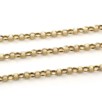 Wholesale Gold Over Sterling Silver Bulk Chain - 3.2mm Diamond Cut Rolo Chain (sold per foot)