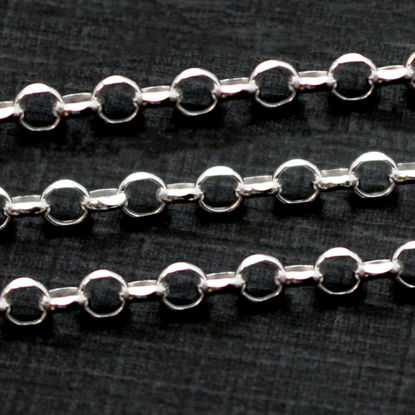 Wholesale Sterling Silver Bulk Chain - 3.2mm Diamond Cut Rolo Chain (sold per foot)