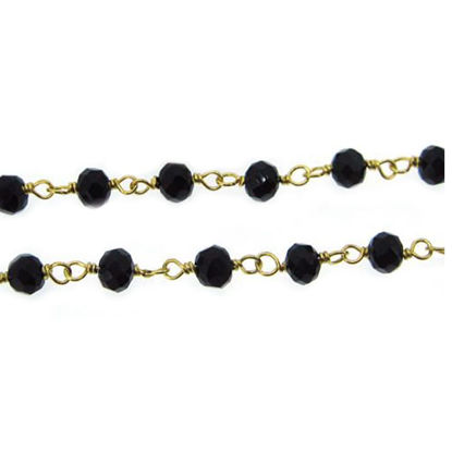 Wholesale Gold over Sterling Silver Black Onyx Rosary Chain By the Foot