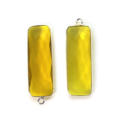 Wholesale Sterling Silver Bezel Charm Pendant - 34x11mm Elongated Rectangle Shape - Lemon Quartz