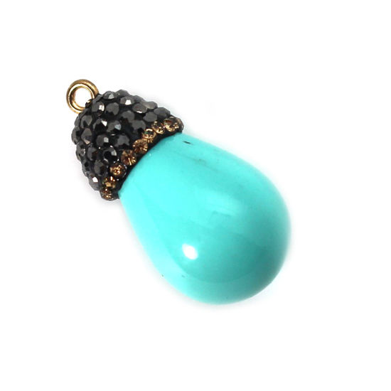 Wholesale Pave Pendant 31mm Turquoise Teardrop Wholesale Pendants for Jewelry Making