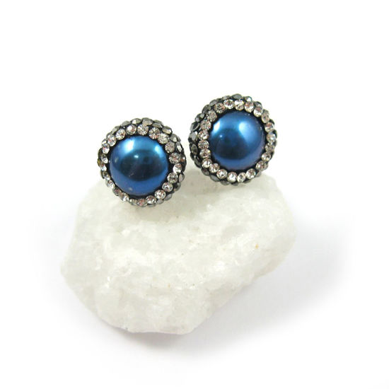 Wholesale Blue Freshwater Pearl Pave Earrings with Sterling Silver Posts (1 pair)