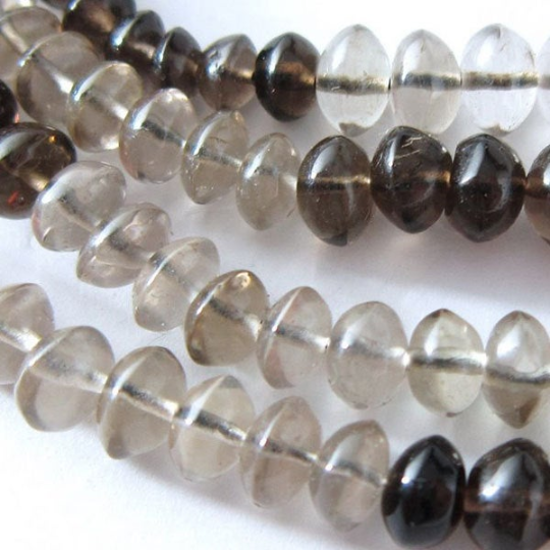 Wholesale Gemstone Beads -- Shaded Smokey Plain Button Beads  ( 5-6 mm) 13.5 inches