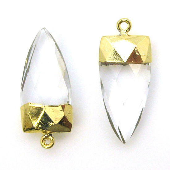 Wholesale Gold Plated Faceted Arrowhead Pendant-Arrowhead charm-Natural Gemstone Spike Pendant -Crystal Quartz