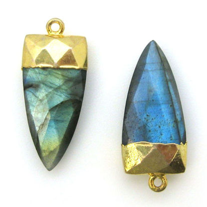Wholesale Gold Plated Faceted Arrowhead Pendant-Arrowhead charm-Natural Gemstone Spike Pendant -Labrodorite
