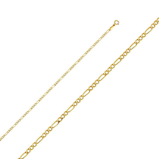 """Wholesale 14K Yellow Gold Necklace-Hollow Figaro Chain-18"""""""