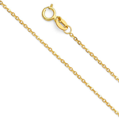 Wholesale 14K Yellow Gold Necklace-Side Cut Oval Rolo Chain-18""