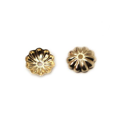 Wholesale 14K Yellow Gold Flower Bead Cap 4.5mm ( 5pcs)