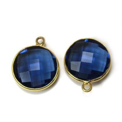 Wholesale 18K Gold Over Sterling Silver Bezel Gemstone Pendant - 14mm Faceted Coin Shape - Blue Iolite Quartz