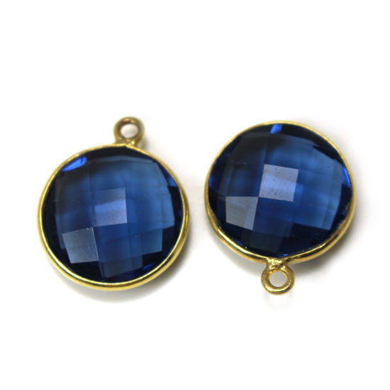 Wholesale 18K Gold Over Sterling Silver Bezel Gemstone Pendant - 14mm Faceted Coin Shape - Blue Iolite Quartz
