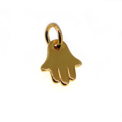 Wholesale Gold Plated over Sterling Silver Hasma Hand Charm - 8mm (1 pc)