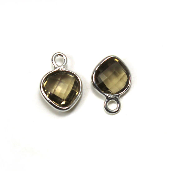 Wholesale Sterling Silver Bezel Charm Pendant - 10x7mm Tiny Heart Shape - Smokey Quartz