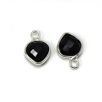 Wholesale Sterling Silver Bezel Charm Pendant - 10x7mm Tiny Heart Shape - Black Onyx