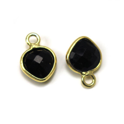 Wholesale Gold Over Sterling Silver Bezel Charm Pendant - 10x7mm Faceted Tiny Heart Shape - Black Onyx