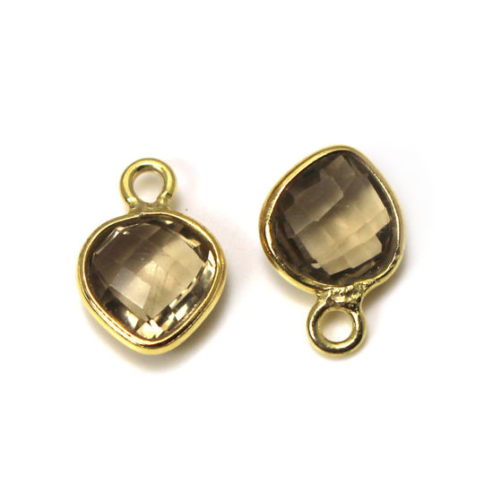 Wholesale Gold Over Sterling Silver Bezel Charm Pendant - 10x7mm Faceted Tiny Heart Shape - Smokey Quartz