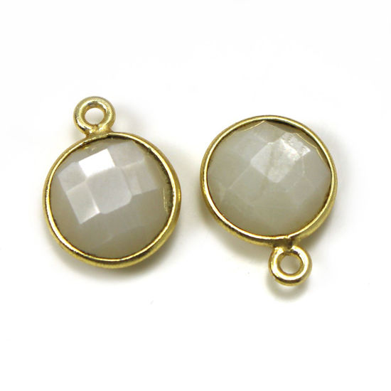 Wholesale Gold Over Sterling Silver Bezel Gemstone Pendant - 11.5mm Faceted Coin Shape - White Moonstone