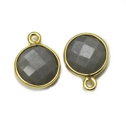 Wholesale Gold Over Sterling Silver Bezel Gemstone Pendant - 11.5mm Faceted Coin Shape - Grey Moonstone