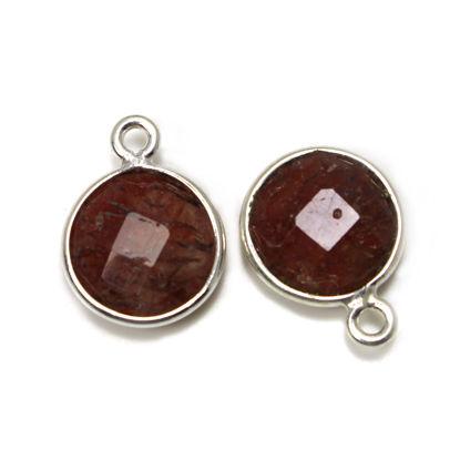 Wholesale Sterling Silver Bezel Gemstone Pendant - 11.5mm Faceted Coin Shape - Cherry Quartz
