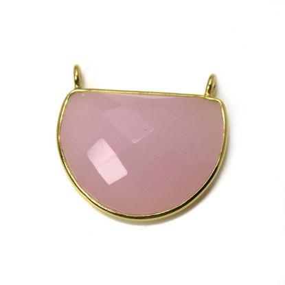 Wholesale Gold over Sterling Silver Bezel Gemstone Pendant - D Shape - Pink Chalcedony