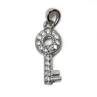 Wholesale Rhodium Plated 925 Sterling Silver  Key Charm with CZ  - 22mm (1 pc)