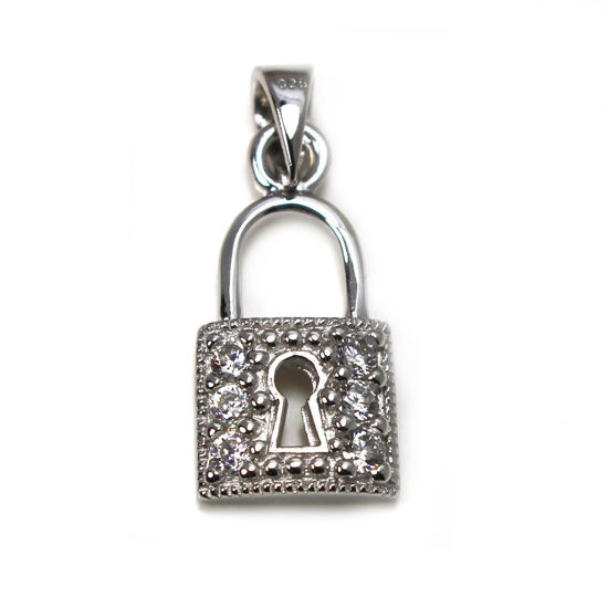 Wholesale Rhodium Plated 925 Sterling Silver  Lock Charm with CZ  - 18mm (1 pc)