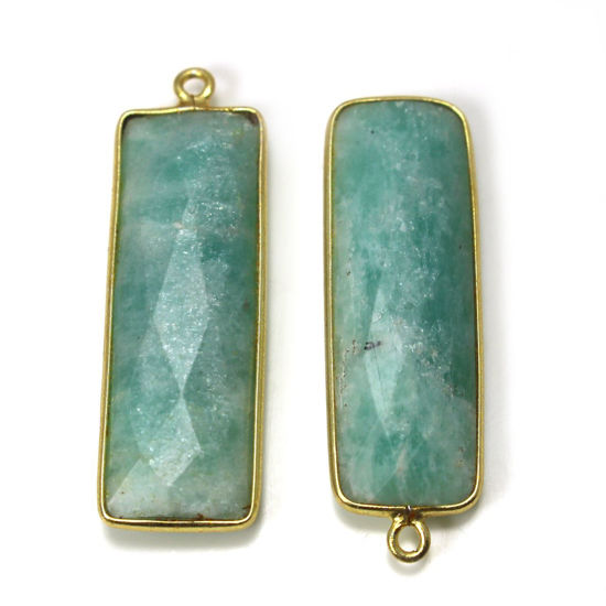 Wholesale Gold Over Sterling Silver Bezel Gemstone Pendant - Long Rectangle Shape - Amazonite -30 by 10mm (ONE OF A KIND)