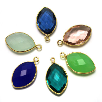 Wholesale One of A Kind- Gold Over Sterling Silver Bezel Gemstone Pendant -Faceted Marquise Shape-18mm by 12mm