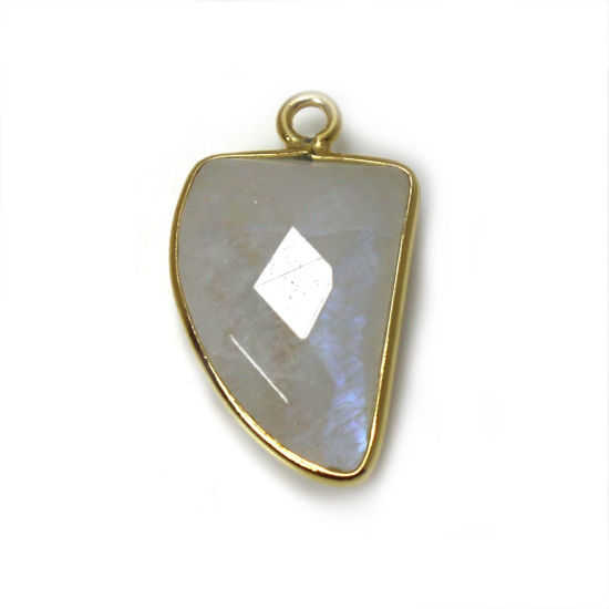 Wholesale Gold Over Sterling Silver Bezel Gemstone Pendant -Nail Shape - Rainbow Moonstone -10 by 15mm (ONE OF A KIND)