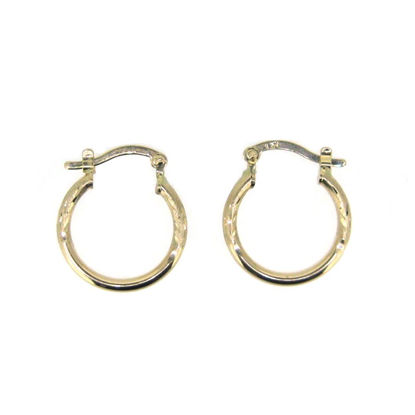 Wholesale 14K Solid Yellow Gold Hoop Earrings with Fancy Design  - 17mm (Sold per pair)