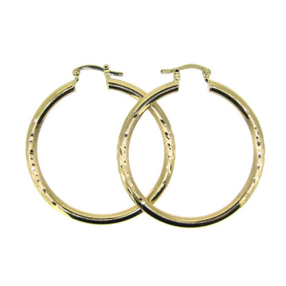 Wholesale 14K Solid Yellow Gold Hoop Earrings with Fancy Design  - 40mm (Sold per pair)
