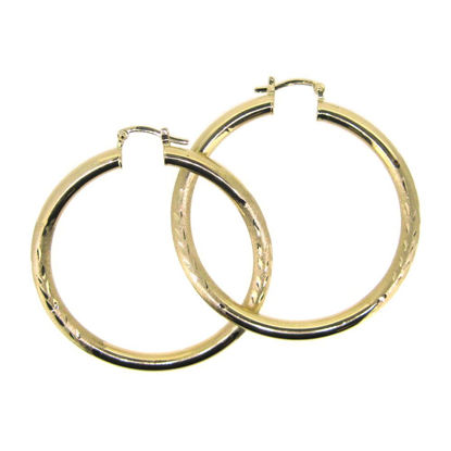 Wholesale 14K Solid Yellow Gold Hoop Earrings with Fancy Design  - 45mm (Sold per pair)