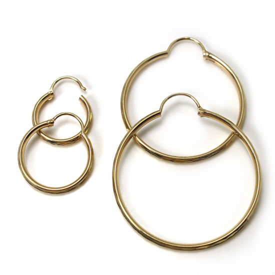 Wholesale 14k Solid Yellow Gold Hoops -Half Round with Textured Design